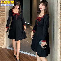 Dress Spring 2021 Grey collar dress, red collar dress XL,2XL,3XL,4XL longuette singleton  Long sleeves commute square neck High waist Solid color Socket A-line skirt routine Others 25-29 years old Type A Other / other Korean version Splicing