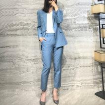Professional pants suit Fog blue coat, fog blue trousers, apricot pink coat, apricot pink trousers, black coat, black trousers, pink coat, pink trousers 2#,4#,6#,8# Autumn 2020 loose coat H6-5872