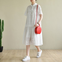 Dress Summer 2020 Pure white M, L Mid length dress singleton  Short sleeve commute Loose waist Decor other other routine Others Type A Natural products literature More than 95% cotton