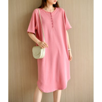Dress Summer 2021 Light green, pure black, light yellow, light pink Average size longuette singleton  Short sleeve commute Crew neck Loose waist Solid color Socket other raglan sleeve Others Type H Natural products literature More than 95% cotton