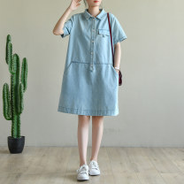 Dress Autumn 2020 Denim light blue M, L Mid length dress singleton  Short sleeve commute Polo collar Loose waist Solid color other routine Others Type A Natural products literature More than 95% cotton
