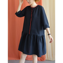 Dress Autumn of 2019 Black Navy M, L Mid length dress singleton  three quarter sleeve commute Crew neck Loose waist Solid color other other other Others Type H Natural products literature 30% and below other hemp