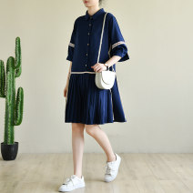 Dress Summer 2020 Tibetan blue mosaic M, L Mid length dress singleton  elbow sleeve commute Polo collar Loose waist Solid color Single breasted other Others Natural products literature More than 95% Chiffon polyester fiber