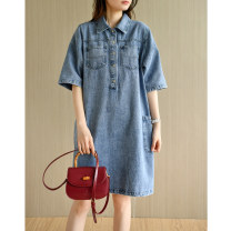 Dress Summer 2021 Denim blue M, L Middle-skirt singleton  Short sleeve commute Polo collar Loose waist Solid color Socket other routine Others Type A Natural products literature More than 95% Denim cotton