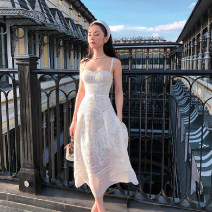 Dress Summer 2020 white XS,S,M,L longuette singleton  Short sleeve commute V-neck High waist Solid color zipper Princess Dress 25-29 years old Type A Lotus leaf edge More than 95% Silk and satin cotton