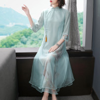 cheongsam Autumn 2020 S M L XL XXL Pink Green Long sleeves long cheongsam Retro No slits daily Round lapel Decor 25-35 years old Piping mountain mist polyester fiber Polyester 100% Pure e-commerce (online only)