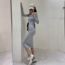 Dress Spring 2021 High grey / light grey/ S, M longuette singleton  Long sleeves commute High waist Solid color Socket routine