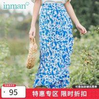 skirt Summer 2020 S,M,L blue Mid length dress commute High waist Type A 25-29 years old Inman / Inman Retro