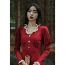 Dress Winter 2020 gules S,M,L Mid length dress singleton  Long sleeves commute V-neck Solid color puff sleeve Others Type H court other