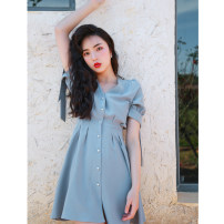 Dress Summer of 2019 Smoke bomb pearl buckle S,M,L Chicory