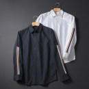 shirt Fashion City Others S,M,L,XL Navy blue, white routine Pointed collar (regular) Long sleeves standard Other leisure autumn youth tide 2019 stripe Rib decoration