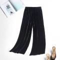 Casual pants black trousers Wide leg pants Natural waist Versatile silk silk