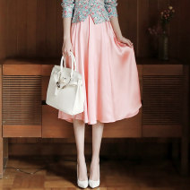 skirt Spring 2021 S,M,L,XL Pink Mid length dress commute High waist A-line skirt Solid color Type A More than 95% Silk and satin polyester fiber Wave, zipper Ol style
