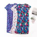 Nightdress Other / other Pink, purple, color 6-10,14-18,20-24 Cartoon Short sleeve pajamas longuette summer Plants and flowers Crew neck cotton More than 95% Knitted cotton fabric