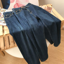 Jeans Spring 2021 blue S,XL,L,M trousers High waist Straight pants routine 18-24 years old washing Cotton denim