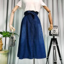 skirt Summer of 2018 M L Blue dark blue Mid length dress fresh High waist A-line skirt Solid color Type A 18-24 years old forty-seven thousand nine hundred and four 31% (inclusive) - 50% (inclusive) other other