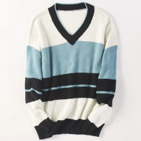 sweater Autumn 2020 Average size 1,2,3 Long sleeves Socket singleton  Regular other 31% (inclusive) - 50% (inclusive) V-neck Regular commute routine stripe Straight cylinder Regular wool Keep warm and warm 25-29 years old World works