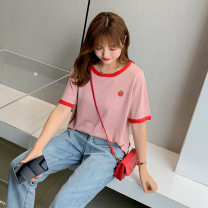 Women's large Spring 2021, summer 2021 Black, pink XL (about 100-140 kg recommended), 2XL (about 140-170 kg recommended), 3XL (about 170-200 kg recommended) T-shirt singleton  commute easy thin Socket Short sleeve Cartoon animation, solid color Korean version Crew neck routine other Collage routine