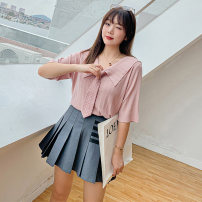Women's large Spring 2021, summer 2021 Black, pink XL (about 100-140 kg recommended), 2XL (about 140-170 kg recommended), 3XL (about 170-200 kg recommended) Knitwear / cardigan singleton  commute easy thin Socket Short sleeve Solid color Korean version routine other Collage routine 25-29 years old