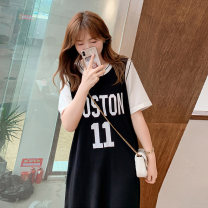 Women's large Spring 2021, summer 2021 black XL (about 100-140 kg recommended), 2XL (about 140-170 kg recommended), 3XL (about 170-200 kg recommended) Dress singleton  commute easy thin Socket Short sleeve Stripe, solid, letter Korean version Crew neck other Collage routine 25-29 years old other