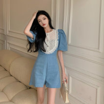 Dress Summer 2021 Denim blue S, M Short skirt singleton  Short sleeve commute Crew neck middle-waisted Solid color Single breasted other other Others 18-24 years old Type A Korean version GW-HX5118 More than 95% Denim other