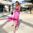 Dress Summer of 2019 Average size longuette singleton  Sweet V-neck Loose waist Solid color One pace skirt camisole Type H polyester fiber Ruili