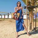 Dress Summer 2020 blue Average size longuette Sweet V-neck Loose waist Solid color One pace skirt camisole Z202001 Ruili