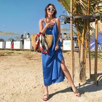 Dress Summer 2020 blue Average size longuette Sweet V-neck Loose waist Solid color One pace skirt camisole Z202001 Ruili