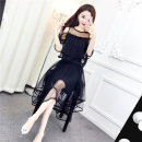 Dress Summer 2021 Black, pink, dark green, purple Average size Mid length dress Two piece set Sleeveless commute One word collar High waist Solid color Irregular skirt camisole 18-24 years old
