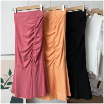 skirt Summer 2020 S,M,L Middle-skirt Versatile Natural waist Solid color Type A 18-24 years old 31% (inclusive) - 50% (inclusive) Happy New Year cotton