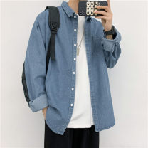 shirt Youth fashion Others M,L,XL,2XL,3XL,4XL Light blue, dark blue routine square neck Long sleeves standard Other leisure autumn youth Other 100% tide 2020 Solid color Denim washing Easy to wear