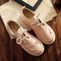 Low top shoes 35 36 37 38 39 40 Other / other Pink [small] Beige [small] white [small] Round head Flat bottom PU Deep mouth Low heel (1-3cm) PU Autumn of 2018 Frenulum Mori Sewing shoes Youth (18-40 years old) Solid color rubber Single shoes Cross bandage Microfiber skin daily Face dressing