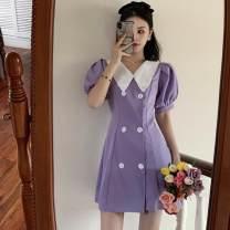 Dress Summer 2020 Purple dress S, M Short skirt singleton  Short sleeve commute V-neck High waist A-line skirt puff sleeve 18-24 years old Type A Korean version