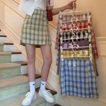skirt Summer 2020 S,M,L Purple, red, green, blue, yellow, black, pink Short skirt fresh High waist A-line skirt lattice Type A 18-24 years old