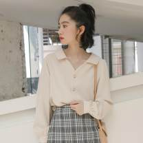 shirt Black, white, apricot S,M,L Autumn of 2019 other 96% and above Long sleeves commute Regular square neck routine Solid color 18-24 years old Straight cylinder Shu life Korean version