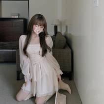 Dress Autumn 2020 Apricot S, M Short skirt singleton  Long sleeves commute square neck High waist Solid color Socket Ruffle Skirt routine Others 18-24 years old Type A Other / other Korean version 31% (inclusive) - 50% (inclusive) Chiffon other