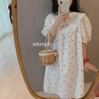 Nightdress Other / other Red cherry, yellow cherry Average size Sweet Short sleeve Leisure home Middle-skirt summer Plants and flowers youth Crew neck cotton printing More than 95% pure cotton