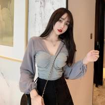 T-shirt Gray, black Average size Autumn of 2019 Long sleeves V-neck Self cultivation bishop sleeve commute other 71% (inclusive) - 85% (inclusive) 18-24 years old Korean version Other / other