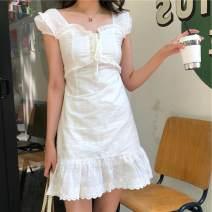 Dress Summer of 2019 white S, M Short skirt singleton  Short sleeve commute square neck High waist 18-24 years old Korean version