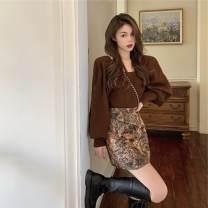 skirt Autumn 2020 S. M, l, average size Oil painting floral skirt, brown sweater Short skirt commute High waist A-line skirt Broken flowers Type A 18-24 years old Korean version