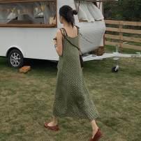 Dress Summer of 2019 Black, bean green Average size longuette singleton  Sleeveless commute V-neck Loose waist Dot Socket other camisole 18-24 years old Type A Korean version Frenulum 31% (inclusive) - 50% (inclusive)