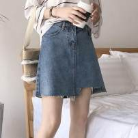 Women's large Summer of 2019 blue skirt singleton  commute easy moderate Solid color Korean version Denim Three dimensional cutting Other / other 18-24 years old Asymmetry 81% (inclusive) - 90% (inclusive) Short skirt other