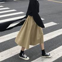 skirt Spring of 2019 S,M,L Mid length dress Versatile High waist A-line skirt Solid color Type A 18-24 years old Guozi test article No. - 002 51% (inclusive) - 70% (inclusive) other