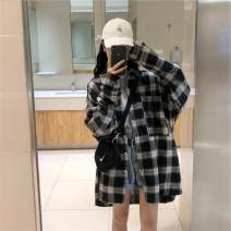 shirt Picture color 1813 Average size Spring of 2019 polyester fiber 91% (inclusive) - 95% (inclusive) Long sleeves street Medium length Polo collar Single row multi button shirt sleeve lattice 18-24 years old Straight cylinder Shu life Pocket, button Hip hop