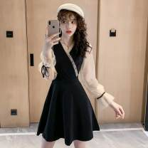 Dress Spring 2020 black S,M,L,XL Mid length dress singleton  Long sleeves commute V-neck Loose waist Solid color zipper A-line skirt puff sleeve Type A Other / other Korean version 5709#2