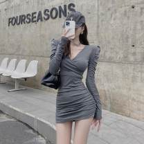 Dress Autumn 2020 Black, gray Average size Short skirt singleton  Long sleeves commute V-neck High waist Solid color Socket other puff sleeve Others 18-24 years old Other / other Korean version
