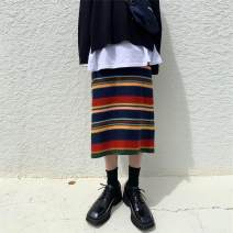 skirt Autumn of 2019 M, L Picture color Mid length dress commute High waist other stripe 18-24 years old 71% (inclusive) - 80% (inclusive) Other / other Korean version