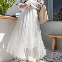 skirt Summer of 2018 Average size Apricot, grey, white, black Mid length dress commute High waist Solid color 18-24 years old 51% (inclusive) - 70% (inclusive) other Nail bead Korean version