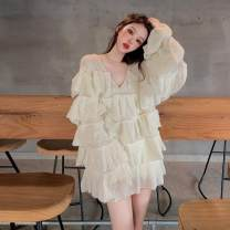 Dress Autumn 2020 Rose red, white Average size Short skirt singleton  Long sleeves commute V-neck Loose waist Solid color Socket pagoda sleeve Others 18-24 years old Type H Other / other Korean version 31% (inclusive) - 50% (inclusive)