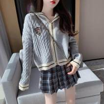 Fashion suit Autumn 2020 S. M, l, average size Dark blue plaid skirt, dark card plaid skirt, khaki sweater coat, gray sweater coat 18-25 years old Other / other polyester fiber